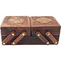 Scatola portagioie in legno con 3 scomparti Scatola portagioie decorativa pieghevole per donne Ornamenti in oro Scatola in legno per bambine Scatola per trucco o uso multiuso