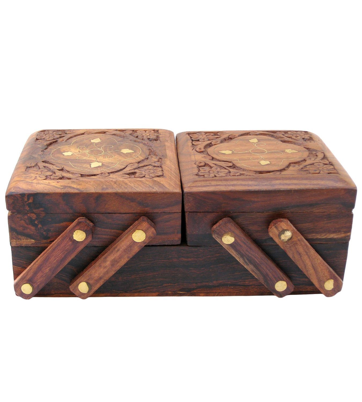 Scatola portagioie in legno con 3 scomparti Scatola portagioie decorativa pieghevole per donne Ornamenti in oro Scatola in legno per bambine Scatola per trucco o uso multiuso PMK PMK0529