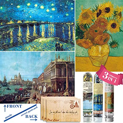 150 Piece Small Jigsaw Puzzle for Adults and Children,Small Puzzle(3 in 1) (Sunflowers, Starry Night of River, The Harbor): Toys & Games
