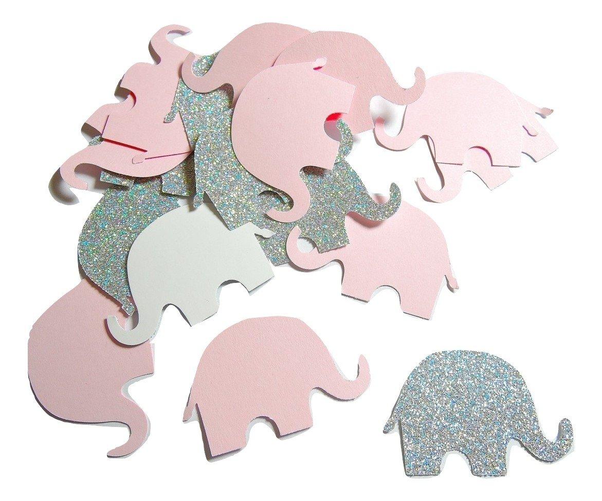 Konfetti Elefant Rosa glitzerndes Silber weiß (handgemacht Konfetti)