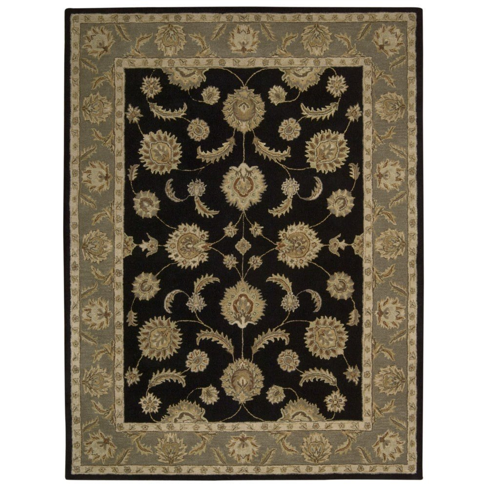 Nourison India House (IH90) Black Rectangle Area Rug, 8-Feet by 10-Feet 6-Inches (8' x 10'6'')