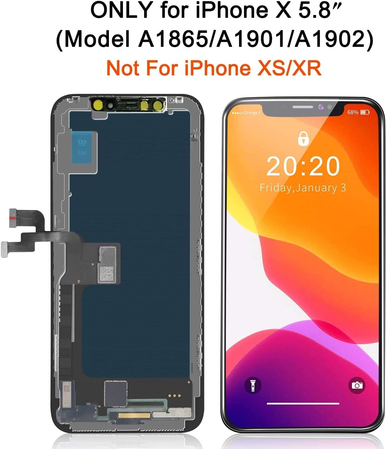 3D Touch Screen Display Digitizer Assembly with Repair Tool Kit Tempered Glass Compatible with iPhone X LCD Screen Replacement 5.8 Inch Waterproof Frame Adhesive Sticker Model A1865//A1901//A1902