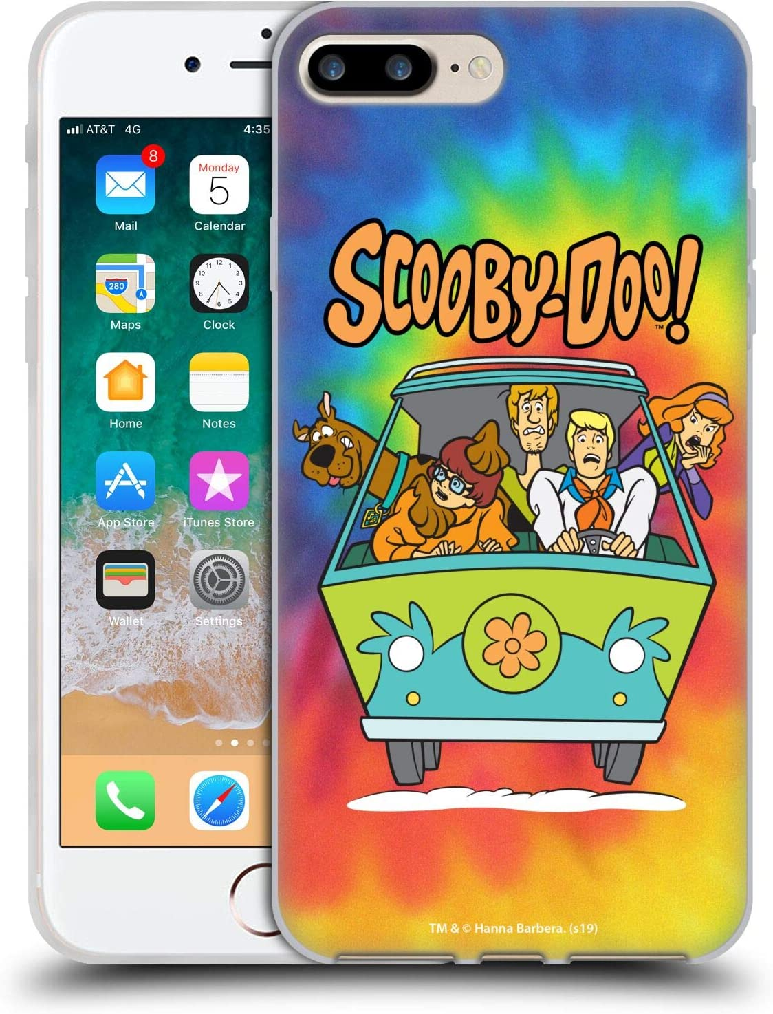 Head Case Designs Officially Licensed Scooby-Doo Tie Dye Mystery Inc. Soft Gel Case Compatible with Apple iPhone 7 Plus/iPhone 8 Plus