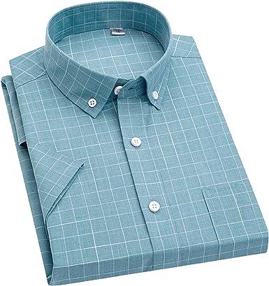 Outwears - Camisa de cuadros para hombre, manga corta, ajuste ...