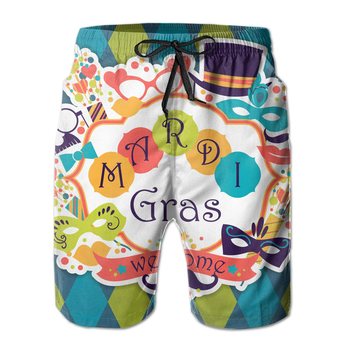 Fancy Illusion Mardi Gras Carnival Masks Cool Boys Mens Shorts Swim Trunks Board Shorts for Men
