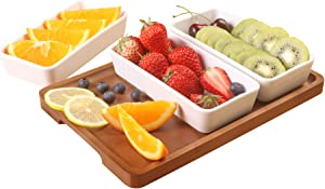 Creamy tomato sauce snack tray 3 long ceramic bowls and a brown tray, removable moisture-proof food bowl, can contain snacks, fruits, condiments, bread, barbecue, appetizers