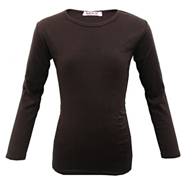 a3e5ccba2 Farstowe Minx Girls Plain Long Sleeve Kids Top Children Crew Neck T-Shirt  School Summer T-Shirt Age 2-13 Year: Amazon.co.uk: Clothing