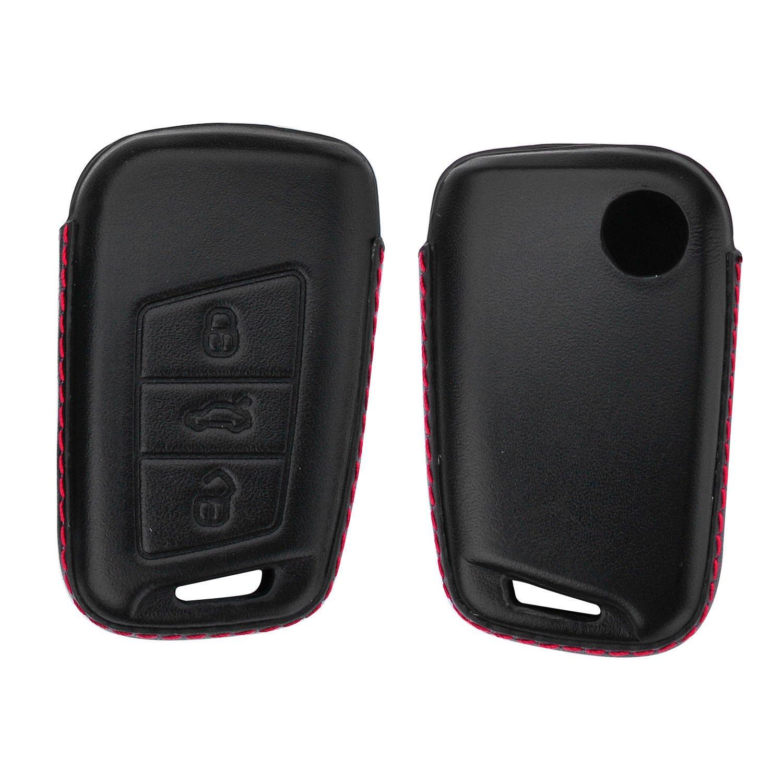 Genuine Leather Key Fob Cover For VW Passat B8 Variant Key Leather Fob Case For Men Women With Key Rings Key Chain Keychain Holder Metal Hook M.JVisun Key Covers For Car Keys Volkswagen Black