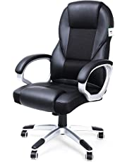 SONGMICS Executive Office Chair with High Back, Durable and Stable, Height Adjustable, Ergonomic, Black, OBG22BUK