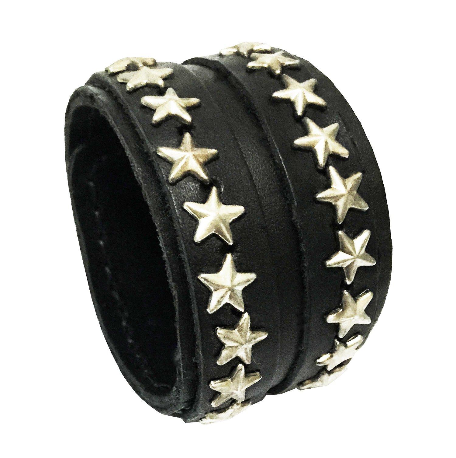 D'SHARK 1.8'' Wide Double Layer Stars Design Biker Leather Cuff Bracelet Wristband for Unisex (Black)
