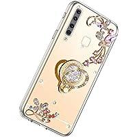 Herbests Etui kompatybilne z telefonem Samsung Galaxy A9 2018, błyszczące, diamentowe kryształki, stras, brokat, motyle…