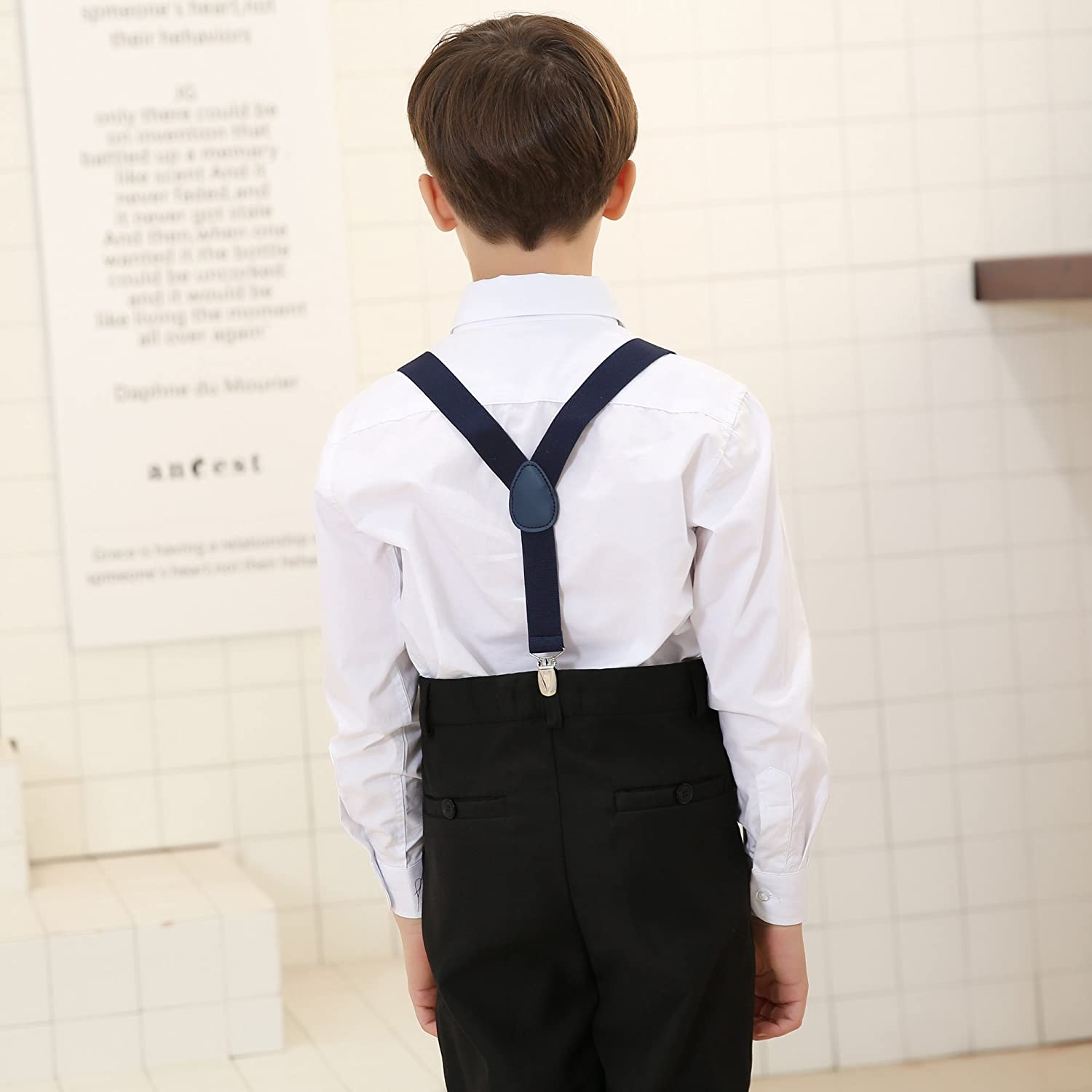 Boys Suspender Bowtie Necktie Sets - Adjustable Elastic Classic Accessory Sets for Boys /& Girls /(Black/) Jerrybaby
