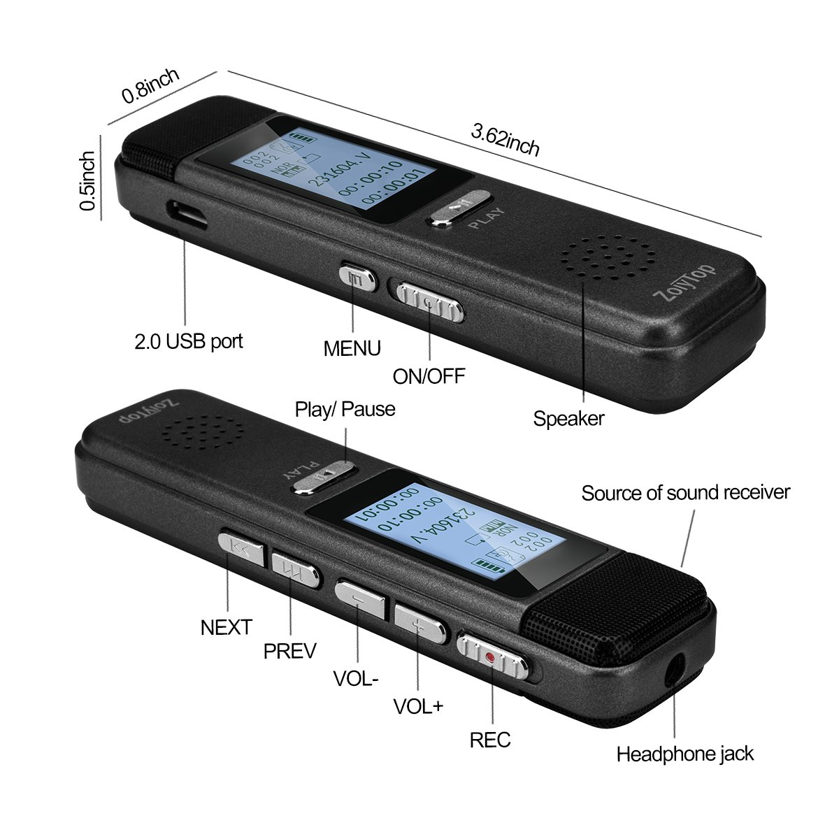 Digital Voice Recorder, ZoiyTop 8GB 3072Kbps Sound Audio Recorder Dictaphone,Double Microphone HD Recording,Premium Quality Metal Casing,Noise Cancelling, MP3 Player