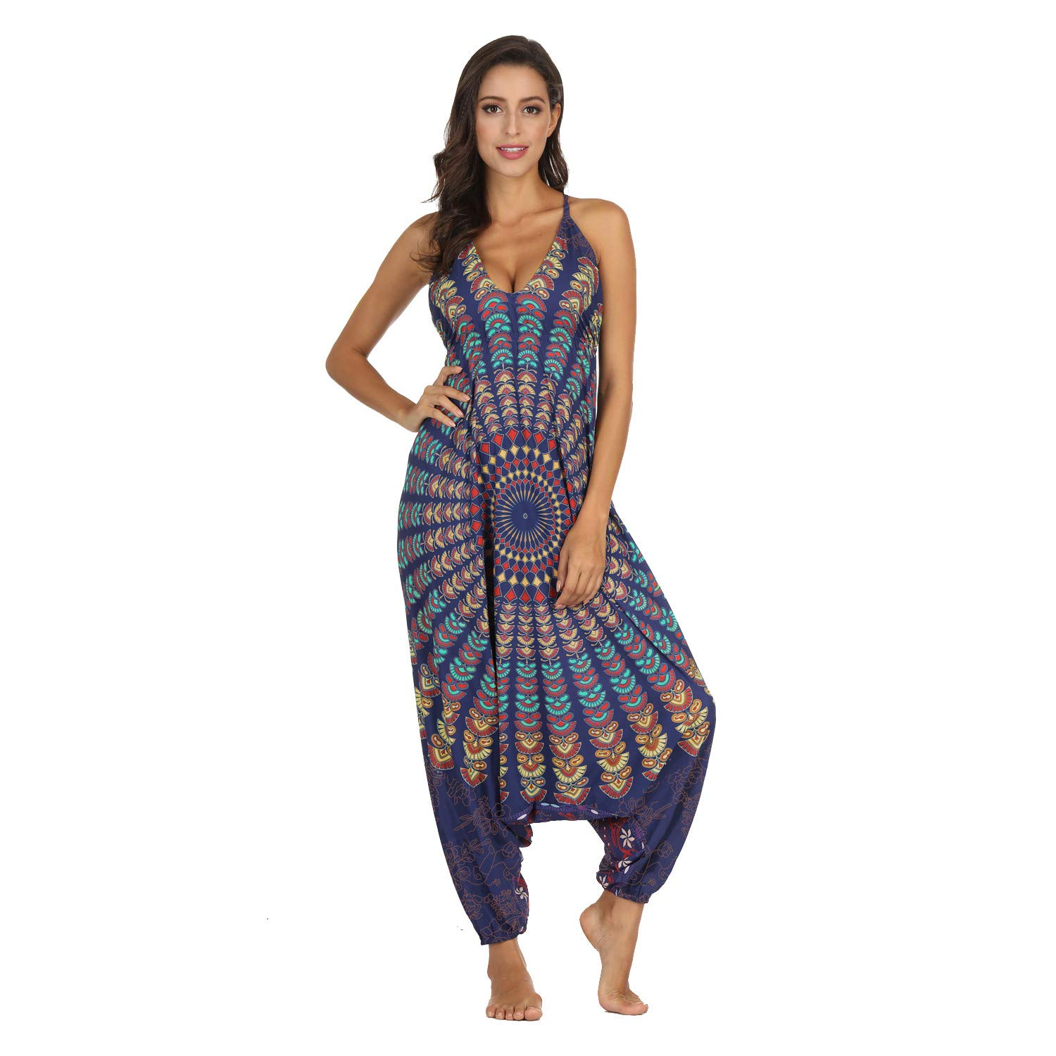 Sunyastor Jumpsuits for Women Deep V-Neck Rompers Loose Playsuit Gym Yoga Gypsy Jogging Harem Pants Baggy Palazzo Trousers