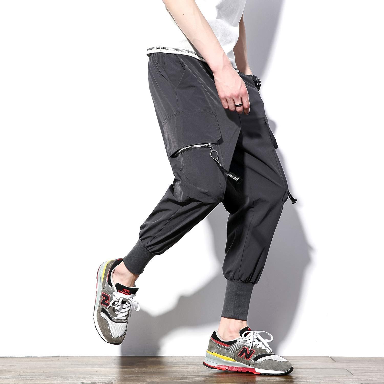 dontcareme Pantalones Informales para Hombre, Color Negro, con ...