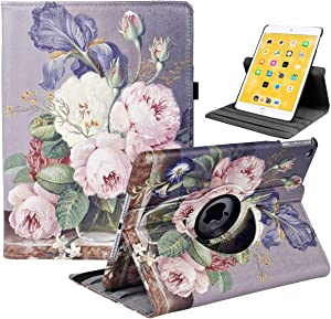 iPad 9.7 2018/2017, iPad Air 2, iPad Air Case - Rotating Stand Protective Cover with Auto Sleep Wake for Apple New iPad 9.7 inch (6th Gen, 5th Gen) / iPad Air 2013 Model(Painting Rose)