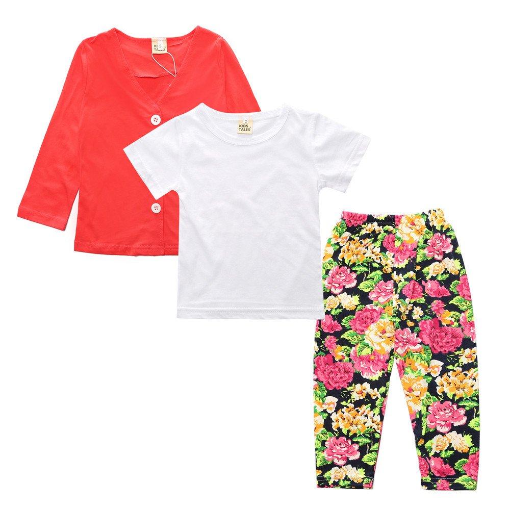 3Pcs Kids Toddler Girls Flower Pants Set Red Coat T-Shirt Pants Outfit Clothes Set