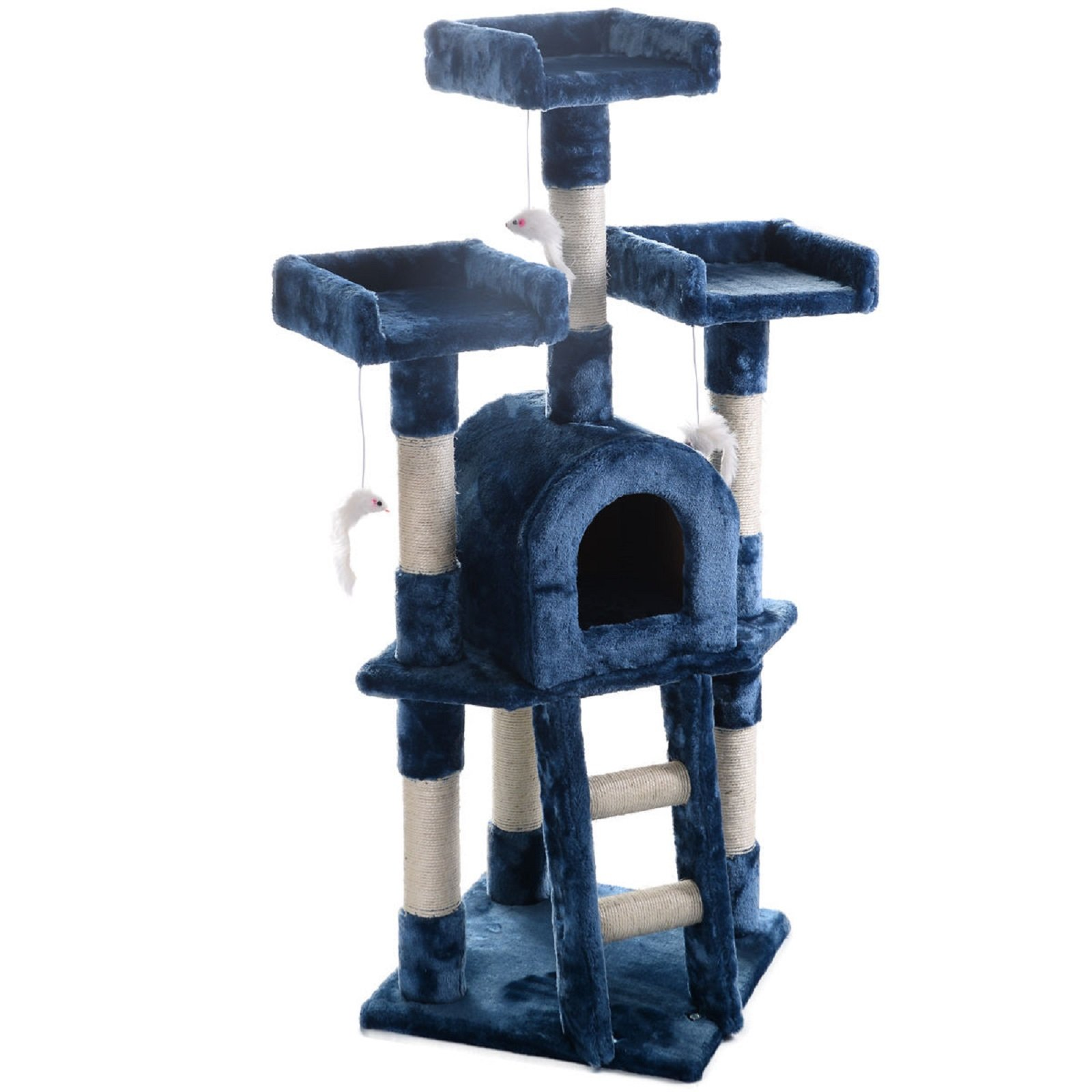 Hot Sale! Cat Tree Post Scratcher Furniture Play House Pet Bed Kitten Toy Navy blue