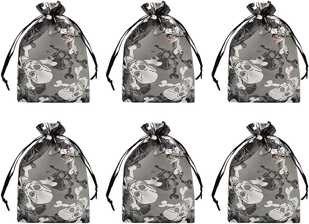"""Tvoip Organza Bags 100pcs/lot 4""""x 6"""" (10x15cm) Drawable Black Skull Packing Bags Wedding Christmas Candy Jewelry Bags & Pouches (Black(Skull))"""