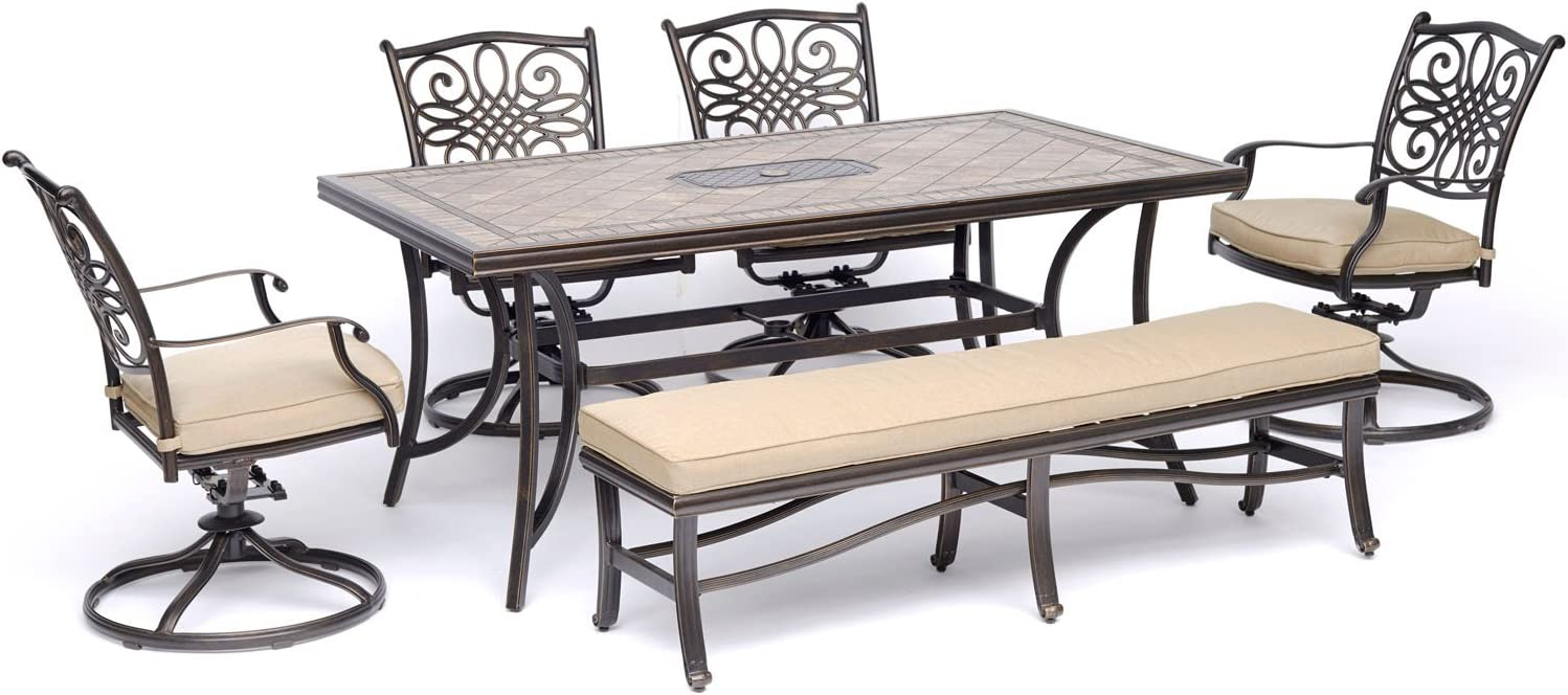 """Hanover MONDN6PCSW4BN-TAN Mo co 6-Piece Dining Set InWith Four Swivel Rockers, A Cushioned Bench, And A 40"""" X 68"""" Tile-Top Table Outdoor Furniture, Tan"""