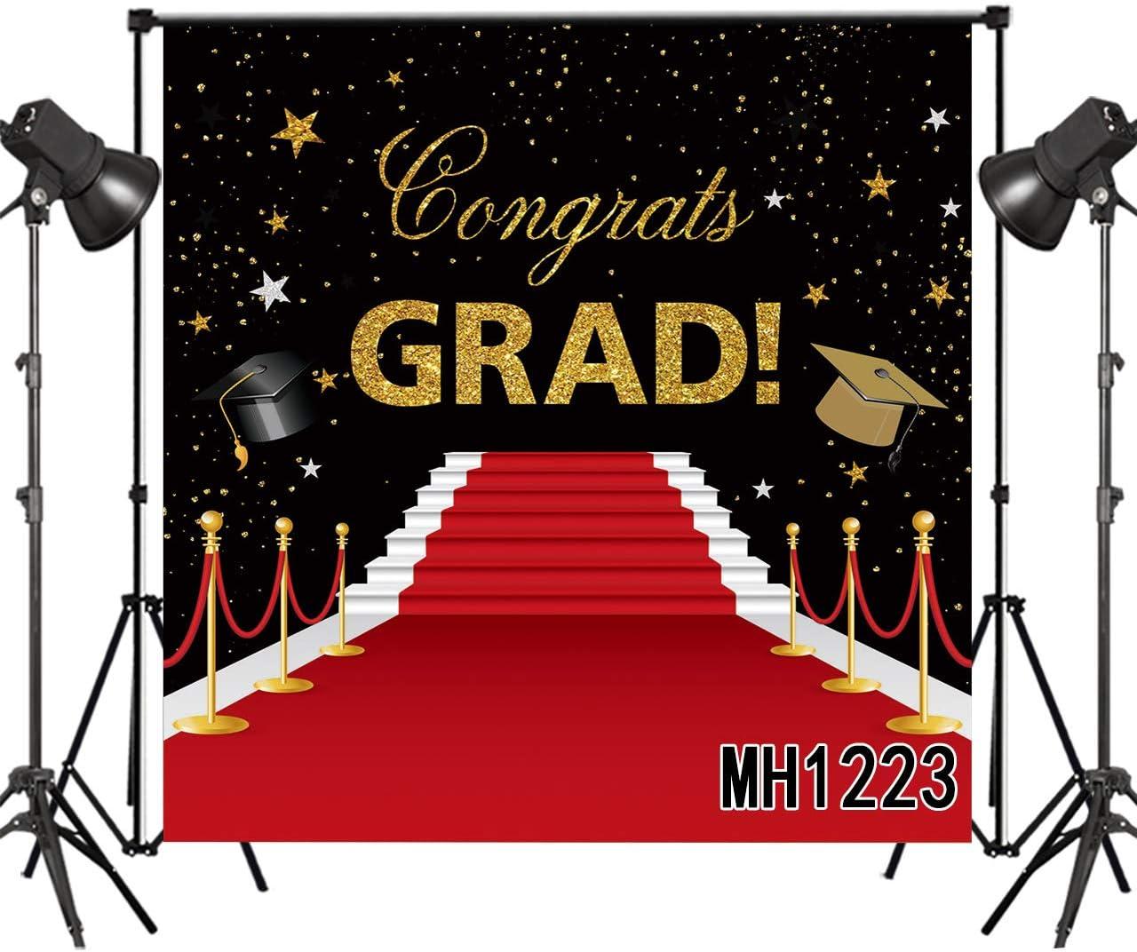 LB Graduation Ceremony Backdrop for Photography 10x10ft Red Carpet Backdrop Congrats Grad Graduation Party Cap Design Photo Background Customized Photoshoot Studio Props MH1223