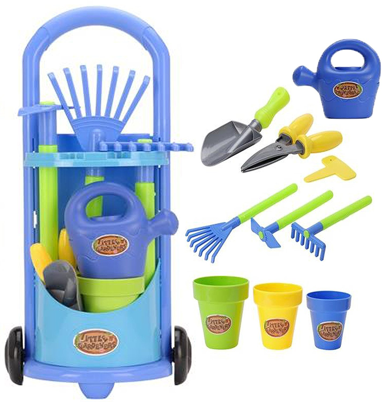 Liberty Imports Junior Gardening Trolley Play Set Garden Hand Tools with Rake, Shovel, and Bucket Set