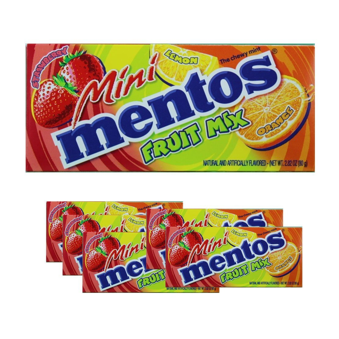 Mini Mentos Fruit Mix 3 Flavors Combo Lemon Orange Strawberry of 2.82 - 6 Packs by Mentos