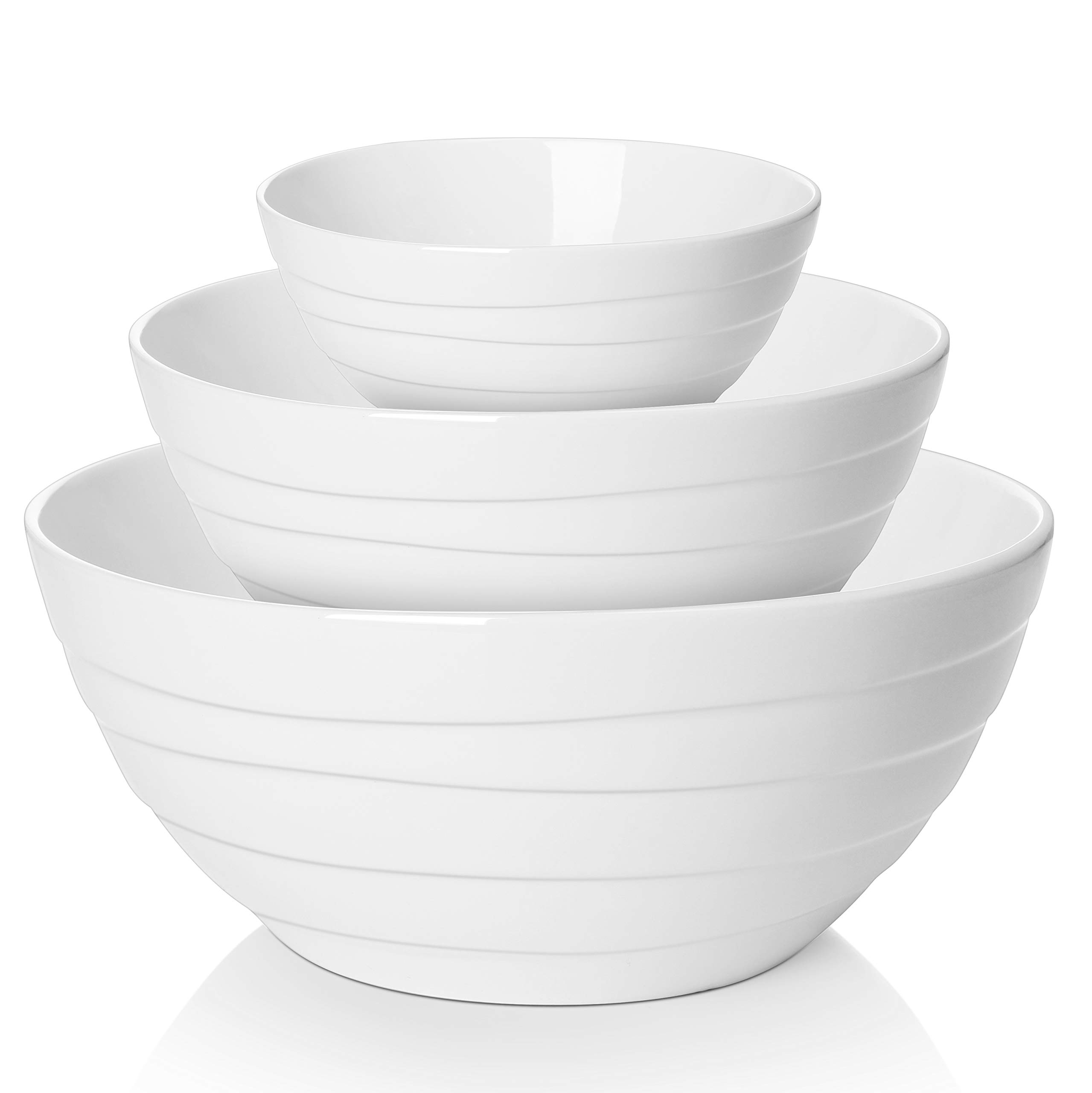 LIFVER Non Slip Serving Bowl Set, Ceramic Mixing Bowls, 0.6 Quart, 1.4 Quart, 3.1 Quart, Spiral Pattern, Set of 3, White by LIFVER