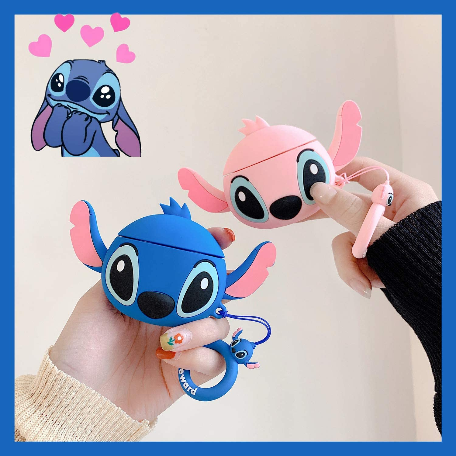 Ear Blue Stitch Lalakaka Compatible with Airpods 1//2 Cute Case,Cartoon Character Silicone Animal Airpod Designer Skin Kawaii Funny Fun Cool Ring Design Cover Kids Teens Air pods Cases for Girls Boys