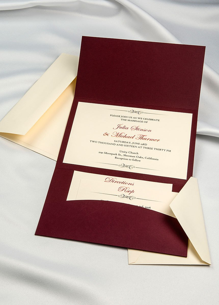 Amazon.com : Horizon Pocket Folder Invitation Kit - Burgundy- Pack ...