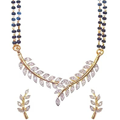 Buy youbella american diamond gold plated mangalsutra pendant with youbella american diamond gold plated mangalsutra pendant with chain and earrings for women aloadofball Images