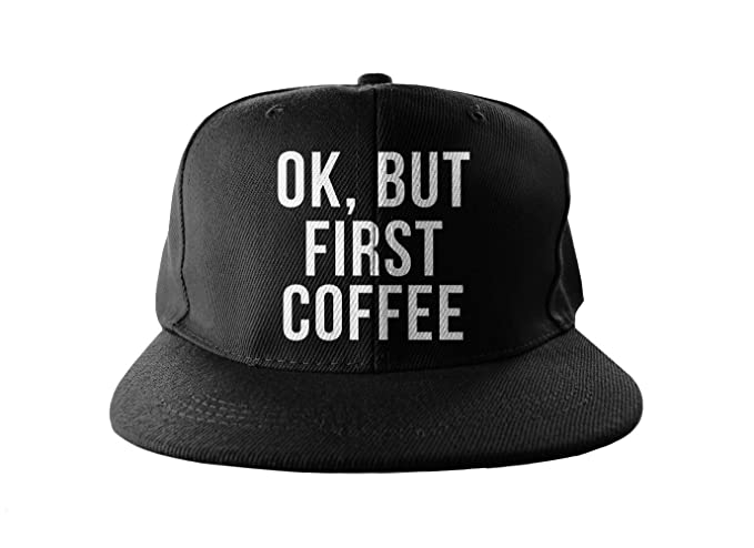 40fd90e0fbb ... promo code for ok but first coffee cool swag hip hop print snapback hat  cap black