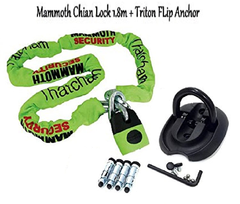 MOTORBIKE THATCHAM APPROVED DEVICE CHAIN LOCK 1.8m & Triton Flip Security Gro...N/A : 180cm - Black : One BIKEIT