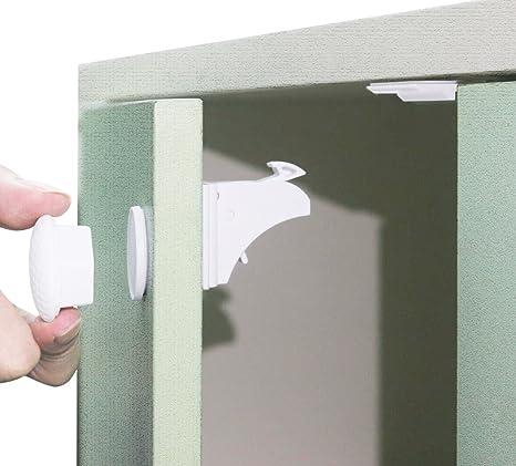 MIDWEC 10 cerraduras y 3 llaves, Nueva versión de cerraduras magnéticas seguras para bebés,