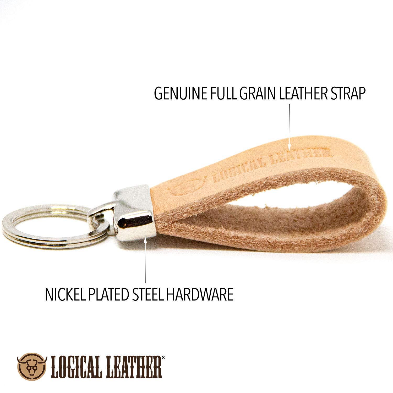 Amazon.com: Llavero de piel auténtica de primera calidad ...