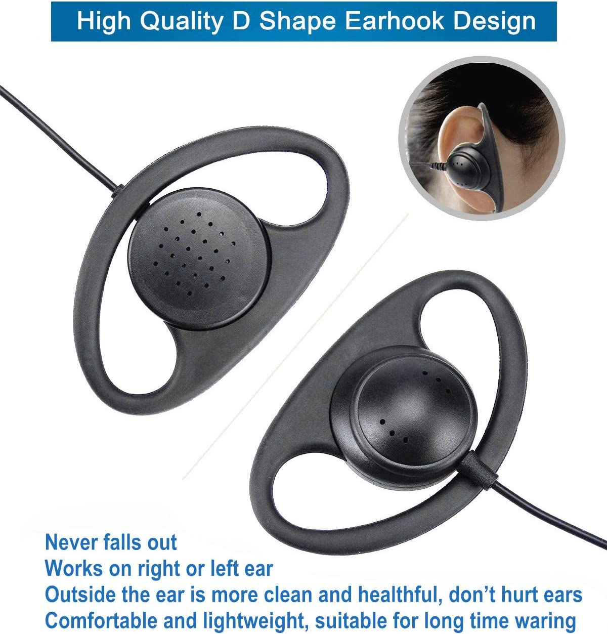 HYS Earpiece with Mic 2 Pin Walike Talkie Earpiece Adjustable Volume Headset G Shape Earpiece Compatible Retevis H-777 RT22 RT21 H-777S Kenwood Baofeng UV-5R BF-F8HP BF-888S