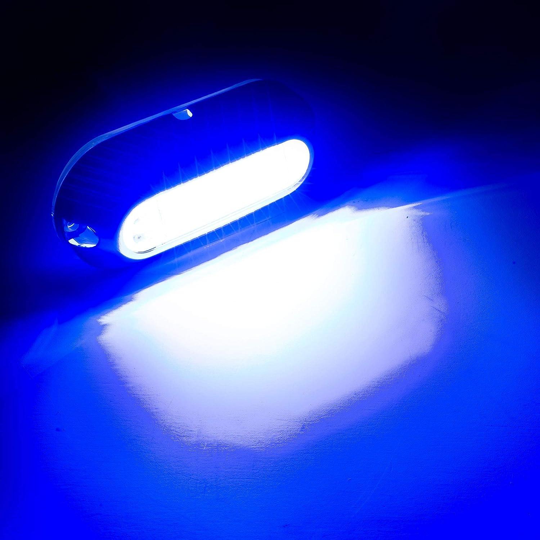 w// 316 Stainless Steel Cover RecPro 3.5 White LED Underwater Pontoon Boat Transom Light Navigation Light Blue, 2