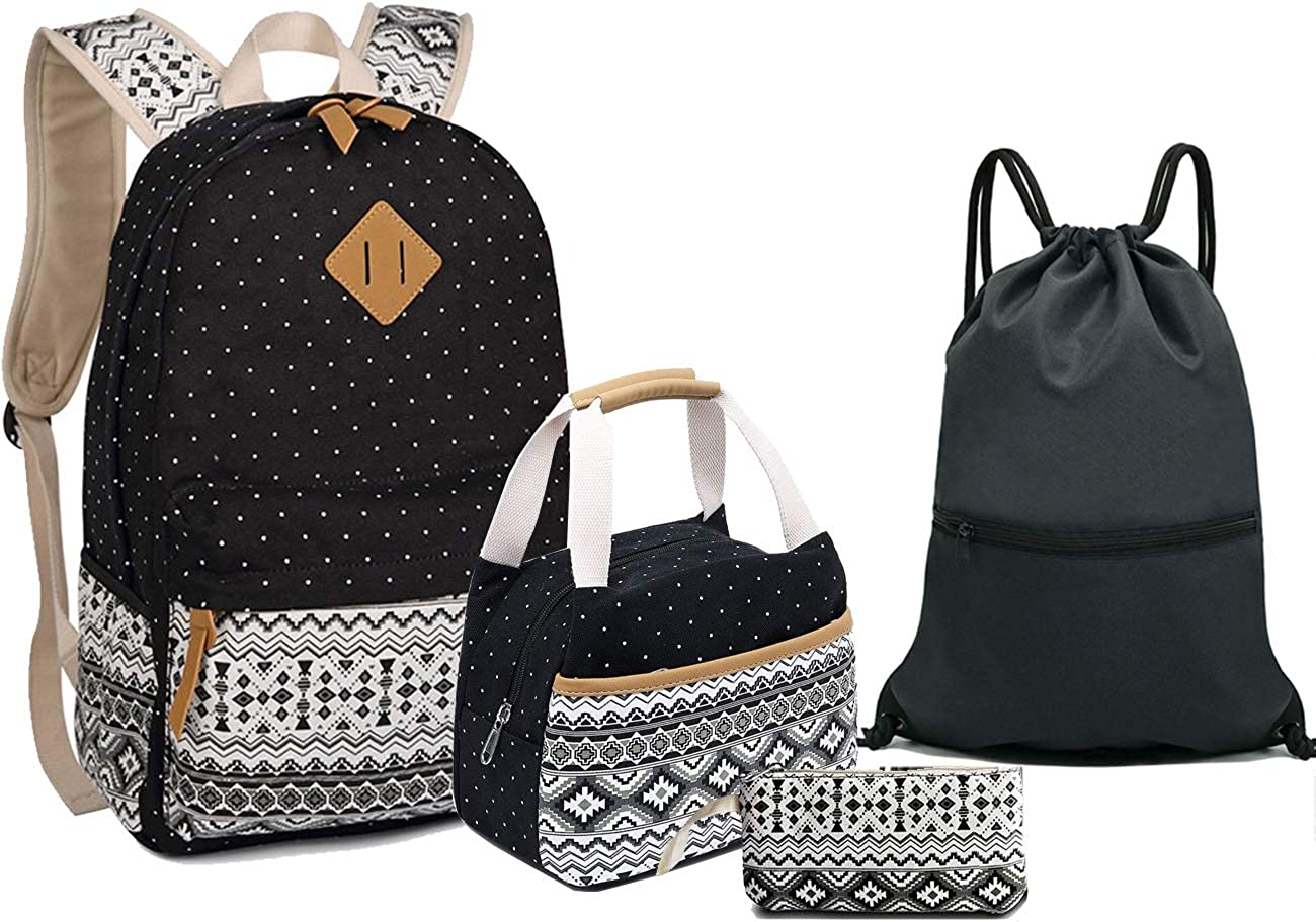 School Canvas Backpack + Lunch Bag + Pencil Case + Drawstring Daypack for girls