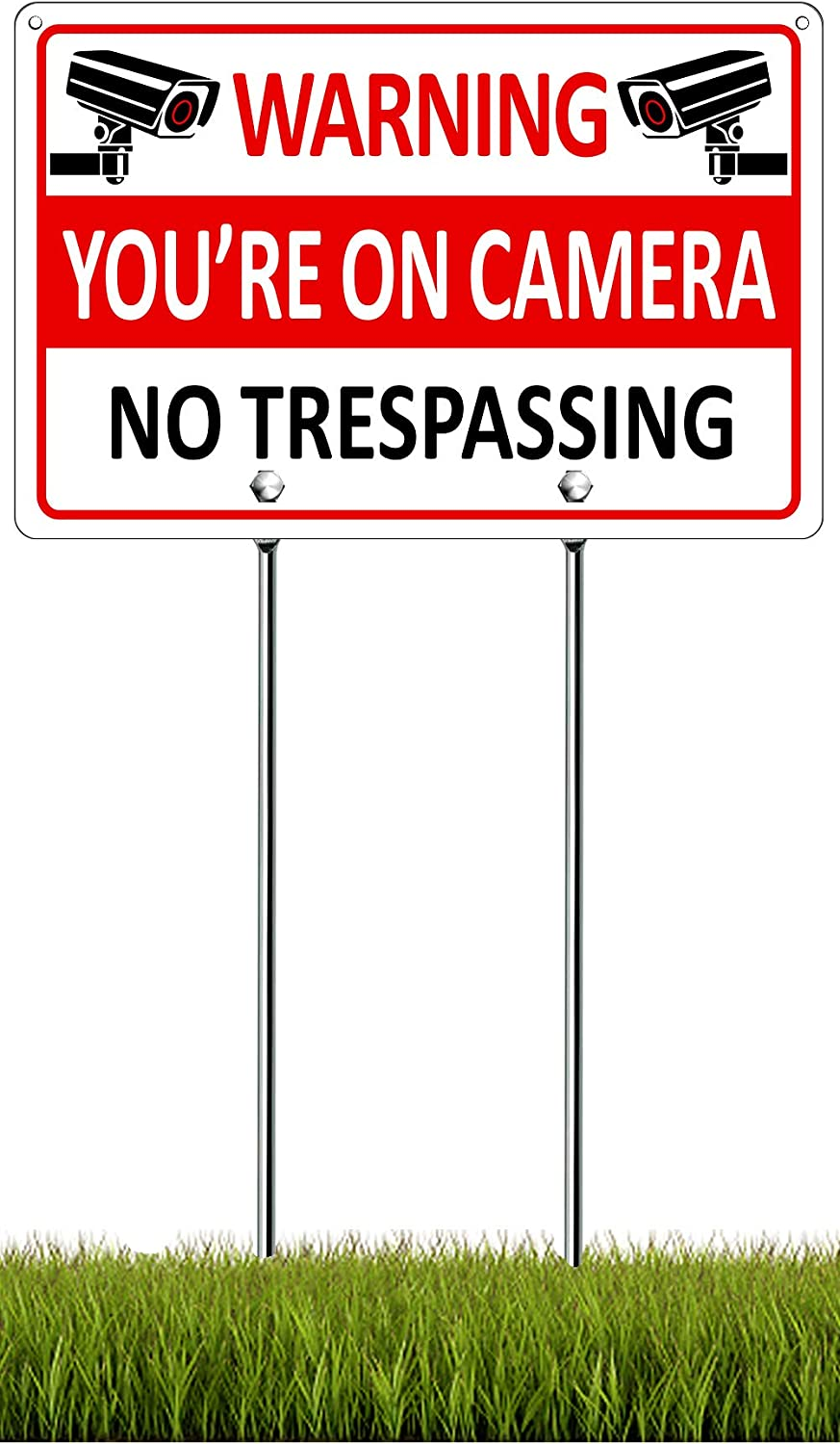 You're on Camera Sign with Stake, Metal No Trespassing Sign with Posts, Aluminum Video Surveillance Signs for Yard Outdoor, 11.8