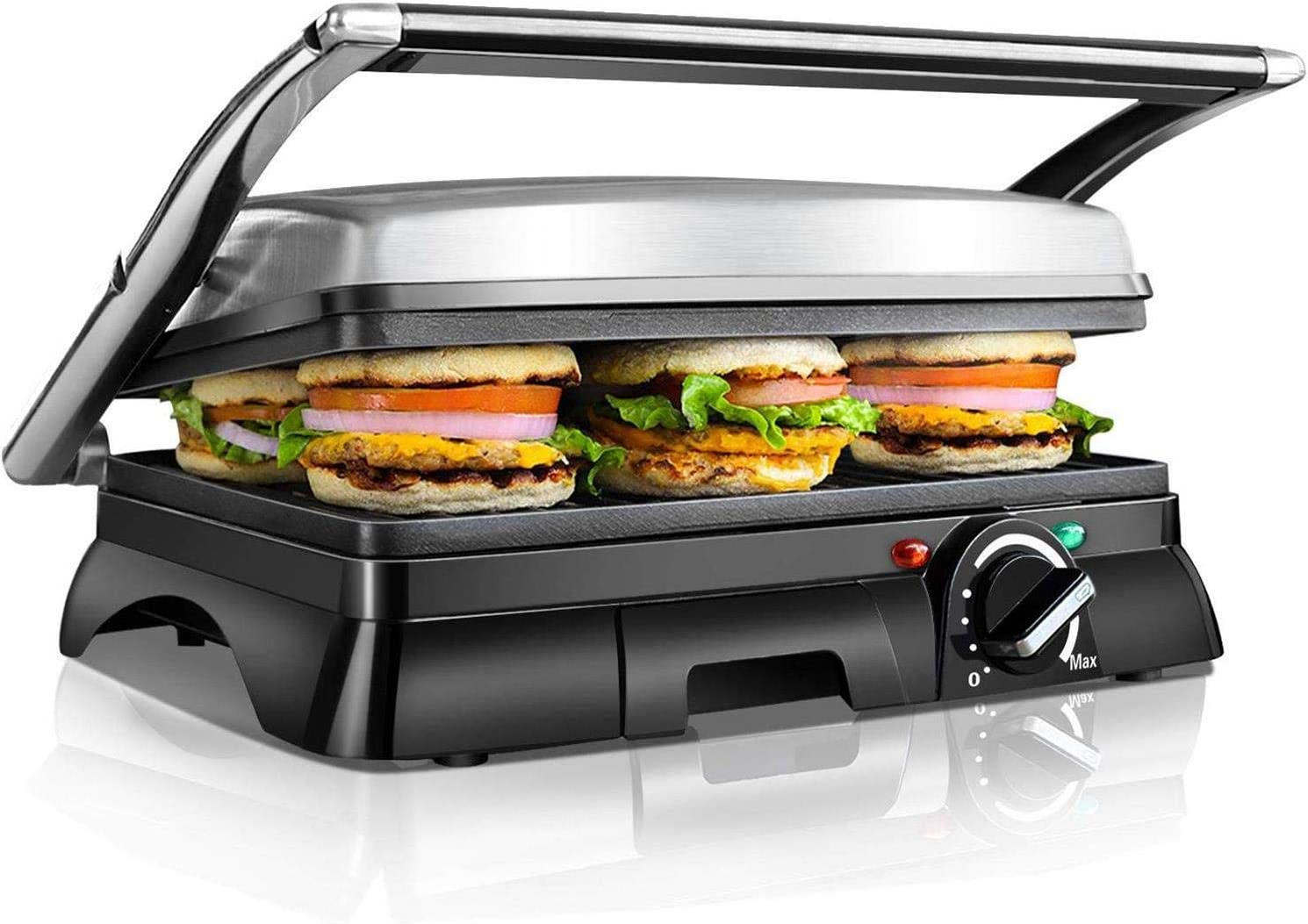 Aigostar Samson 30KLU – Grill, parrilla, panini, 2000W, sandwichera con tapa flotante. placas antiadherentes grandes 29,5 x 23,5 cm, apertura 180 °, control temperatura, libre de BPA. Diseño exclusivo
