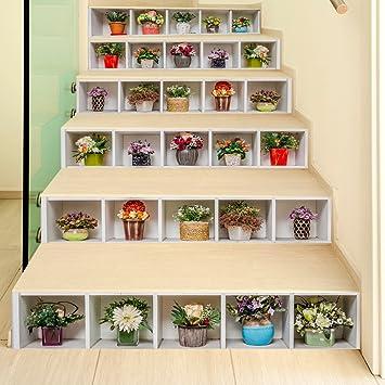 Sencillo Vida 3D Pegatinas de escalera Impermeable autoadhesivo pegatina de pared vinilo adhesivo decorativo para cuartos, dormitorio,cocina, Plantas verdes en macetas, 6Pcs/Set: Amazon.es: Electrónica