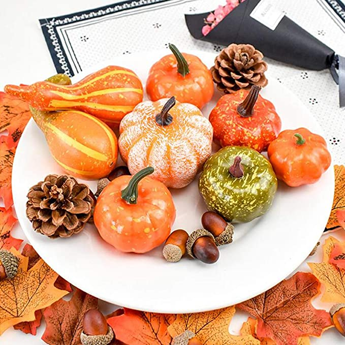 Zsroot 50Pcs Halloween Mini Artificial Pumpkins and Maple Leaves Pine Cones and Acorns Set for Autumn,Fall Harvest Autumn Home Table Decorations Gourds