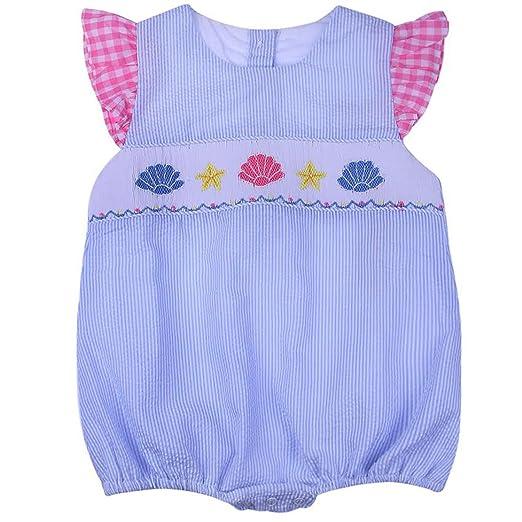 7d6973e2b73 Smocked Sea Shells Girls Bubble Infant Toddler Babeeni Blue Stripe (3  Months)