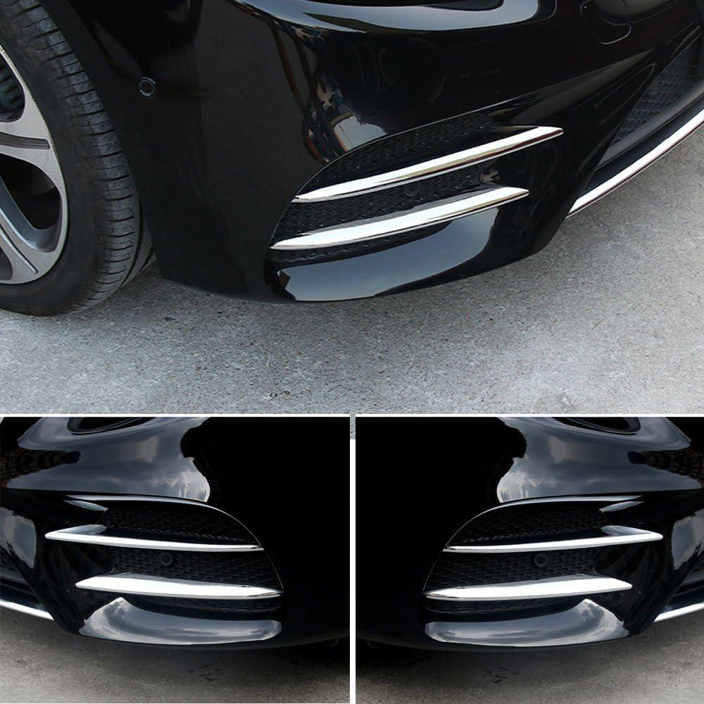 GTINTHEBOX Front Corner Mesh Grill Molding Fog Lights Exterior Cover Trims for 2016 2017 2018 Mercedes Benz E-Class E200 E300 Sedan Sport W213 E43 AMG Chrome Silver