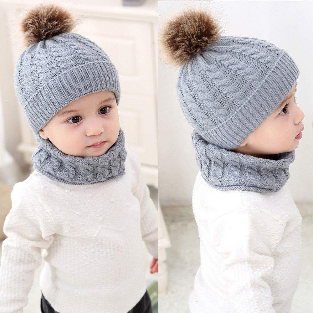 0-2T Unisex Baby Beanie Cap+Scarf Vinjeely Girls Boys 2pcs Winter Warm Knitted Pompom Hat Scarf Set