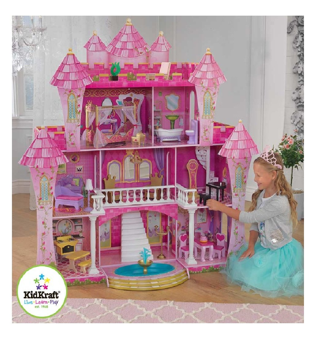 Dolls house at argos co uk your online shop for dolls houses dolls - Kidkraft Far Far Away Wooden Dollhouse 21 Pieces Of Furniture 3 Years Amazon Co Uk Toys Games