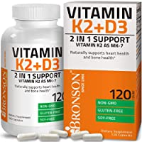 Vitamin K2 (MK7) with D3 Supplement Bone and Heart Health Non-GMO Formula 5000 IU...