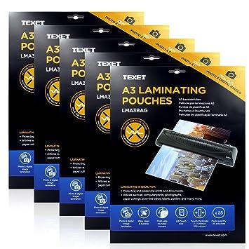 Texet - Láminas para plastificar A3 alta calidad - Pack de ...