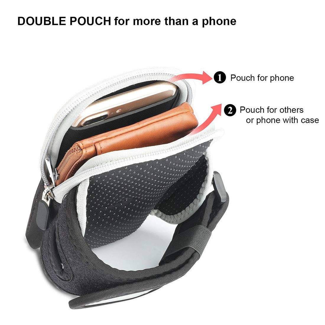 Hemengjuan Outdoor Cycling, Running, Fitness, Arm Pack, Running and Running are Suitable for Iphone6/7/8 Mobile, Phone Arm Band (Color : Gray) by Hemengjuan