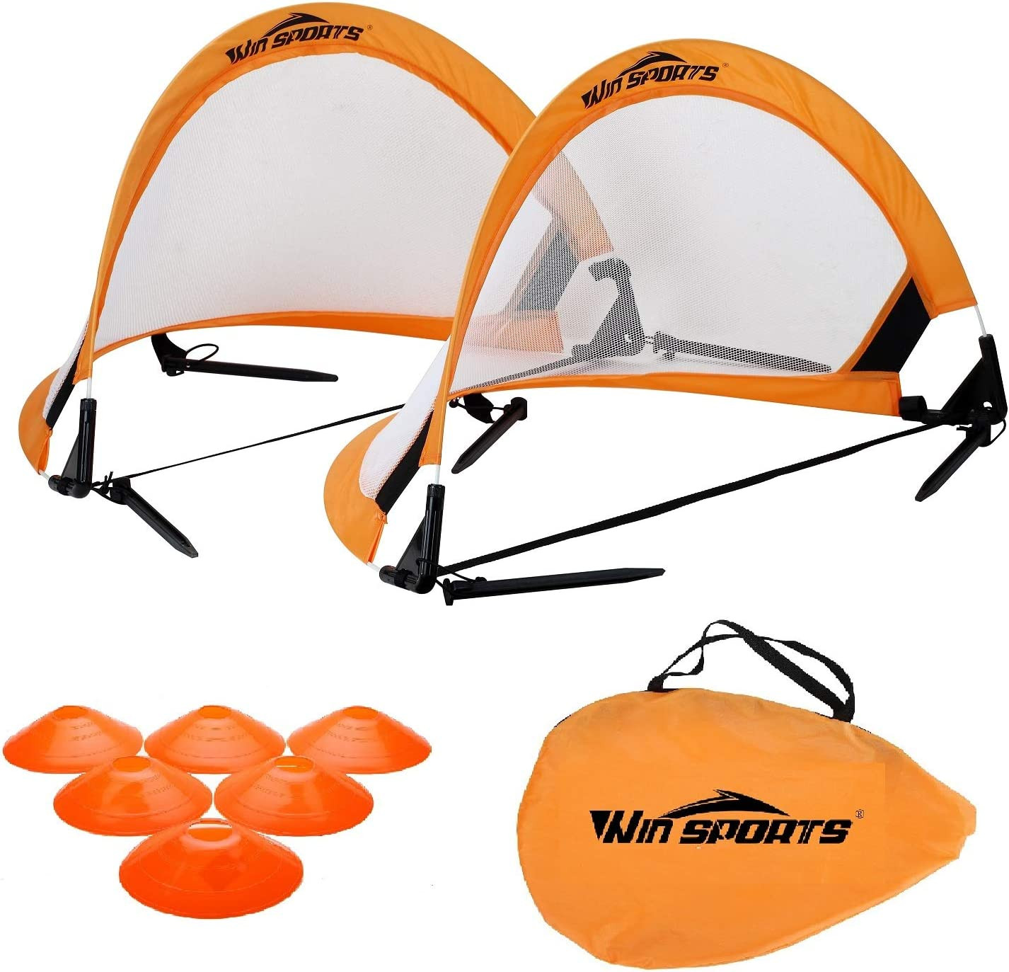 Win SPORTS Pro Foldable Pop Up Soccer Goal - 2 Portable Soccer Nets with Carrying Case and Training Cones